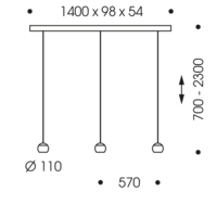 In hoogte verstelbare en dimbare 3-lichts Hanglamp Balino met geïntegreerde LED