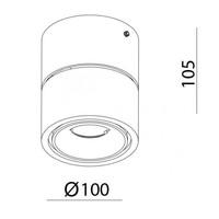 Kantelbare en dimbare 1-lichts opbouwspot Easy W100 met geïntegreerde LED