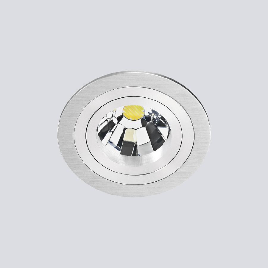 Kantelbare/ronde Inbouwspot 191.1 in een aluminiumkleur met een GU5.3-fitting (12 V)