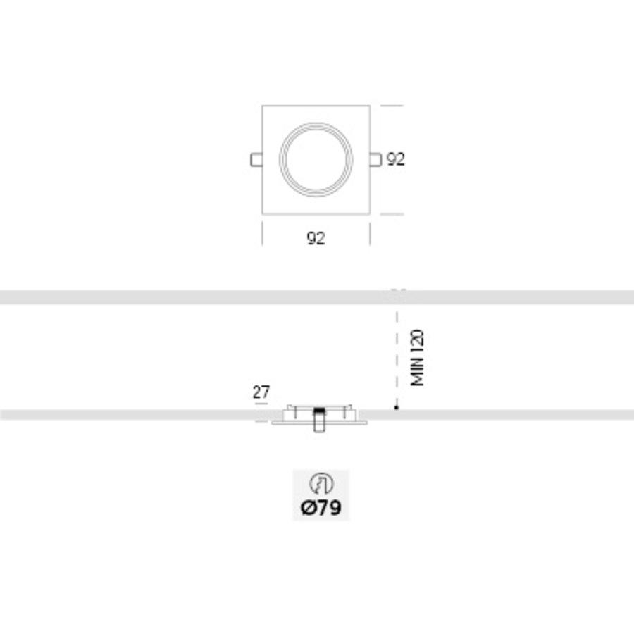 Kantelbare/vierkante Inbouwspot 192.1 in een aluminiumkleur met een GU10-fitting (230 V)