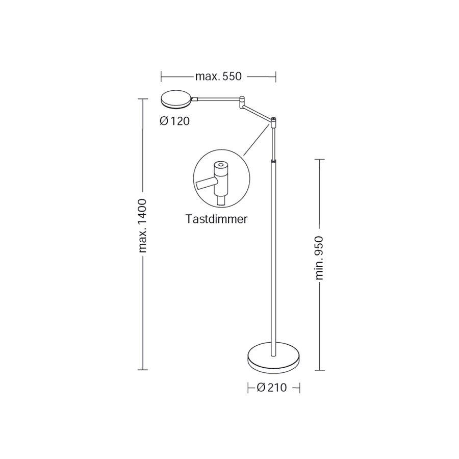 Dimbare en in hoogte verstelbare Vloerlamp Plano B met geïntegreerde LED