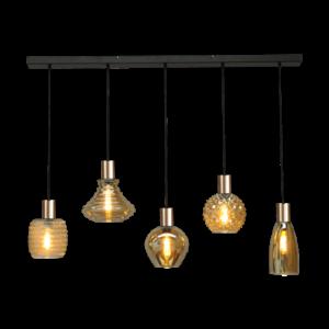 Masterlight 5-lichts hanglamp Bounty Smoke - mat goud