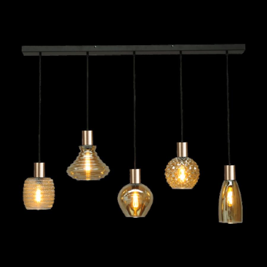 5-lichts hanglamp Bounty Smoke - mat goud