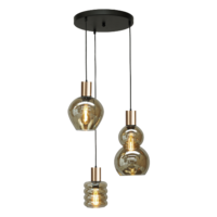 Rondvormige 3-lichts Hanglamp Bounty Smoke - goud
