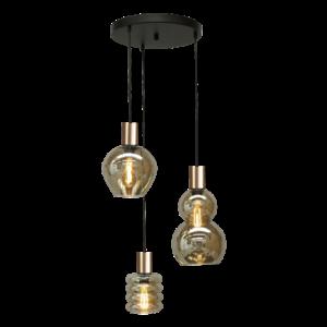 Masterlight Rondvormige 3-lichts Hanglamp Bounty Smoke - goud