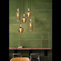 Rondvormige 5-lichts hanglamp Bounty Smoke - mat goud