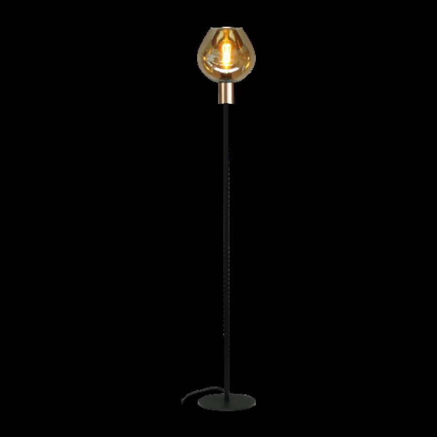 1-lichts vloerlamp Bounty Smoke met glas nr. 3 - mat goud