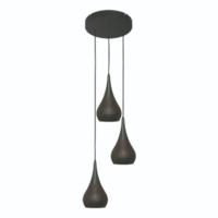 Ronde 3-lichts hanglamp Bruciato