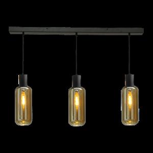 Masterlight 3-lichts hanglamp Bounty Smoke - mat zwart