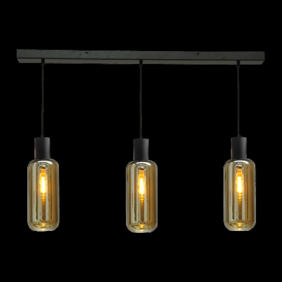 3-lichts hanglamp Bounty Smoke - mat zwart
