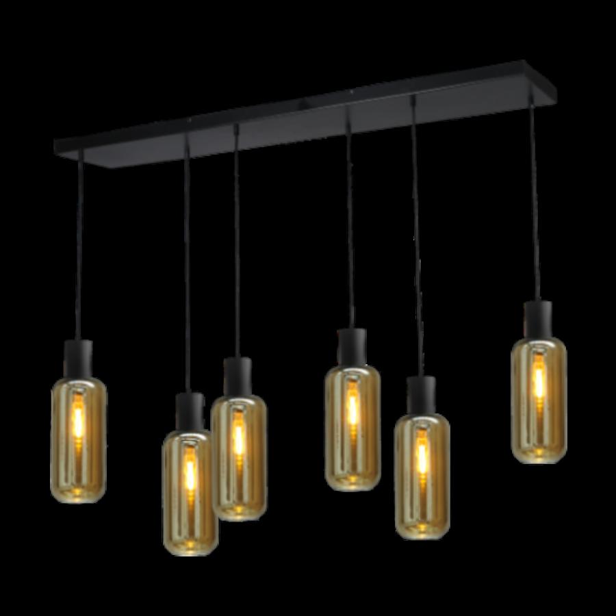 6-lichts hanglamp Bounty Smoke - mat zwart