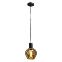 1-lichts hanglamp Bounty Smoke - mat zwart