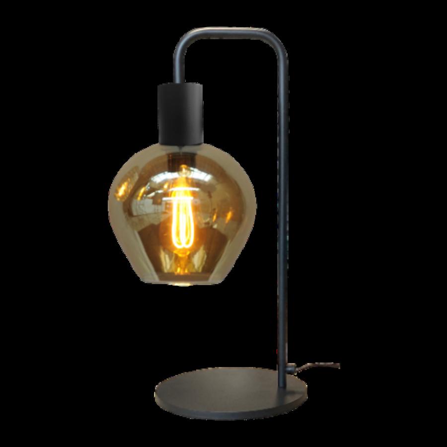 1-lichts tafellamp Bounty Smoke met glas nr. 3 - mat zwart