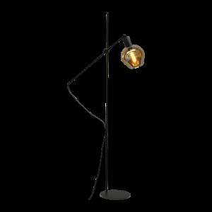 Masterlight 1-lichts vloerlamp Bounty Smoke met glas nr. 3 - mat zwart