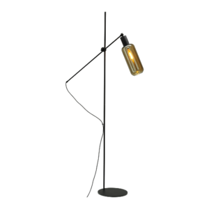 Masterlight 1-lichts vloerlamp Bounty Smoke met glas nr. 5 - mat zwart