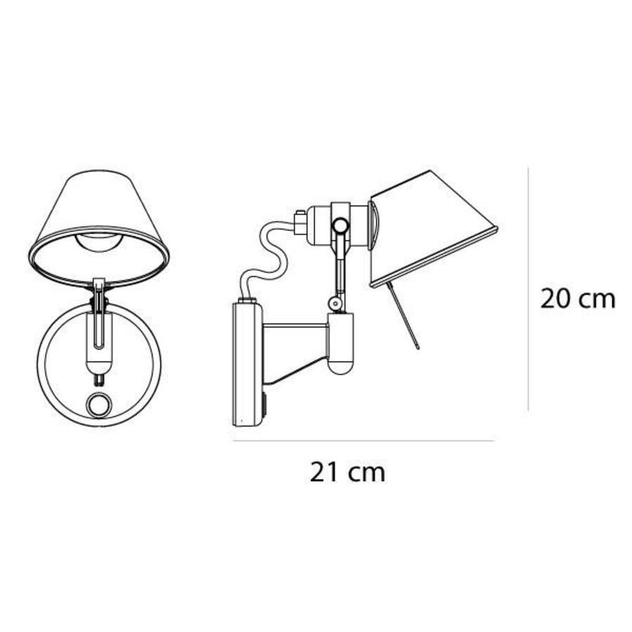 Wandlamp Tolomeo Micro Faretto Parete met geïntegreerde LED