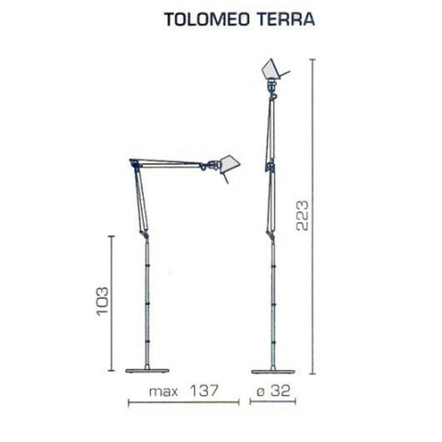 Dimbare vloerlamp Tolomeo Terra met geïntegreerde LED