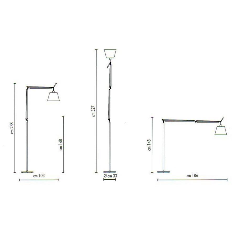 Dimbare Vloerlamp Tolomeo Mega met Zwart frame en geïntegreerde LED