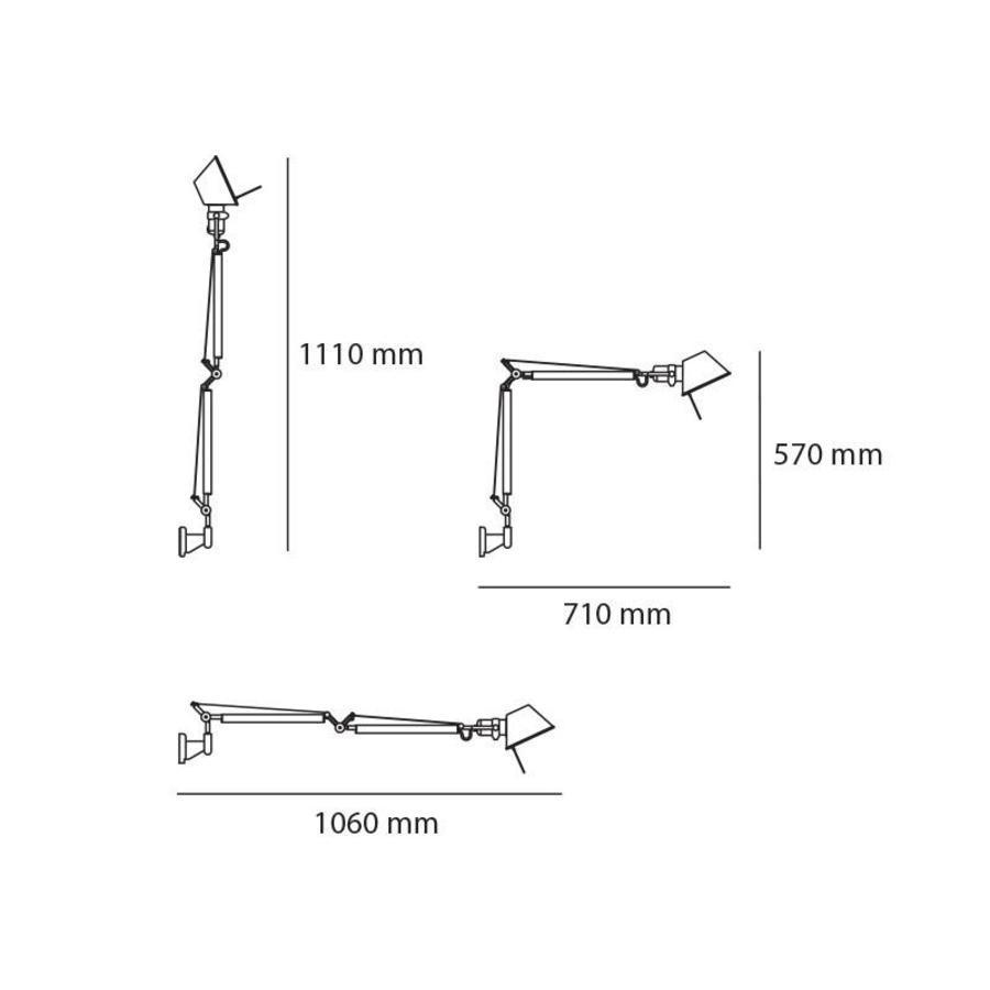 Dimbare wandlamp Tolomeo Mini Parete met geïntegreerde LED