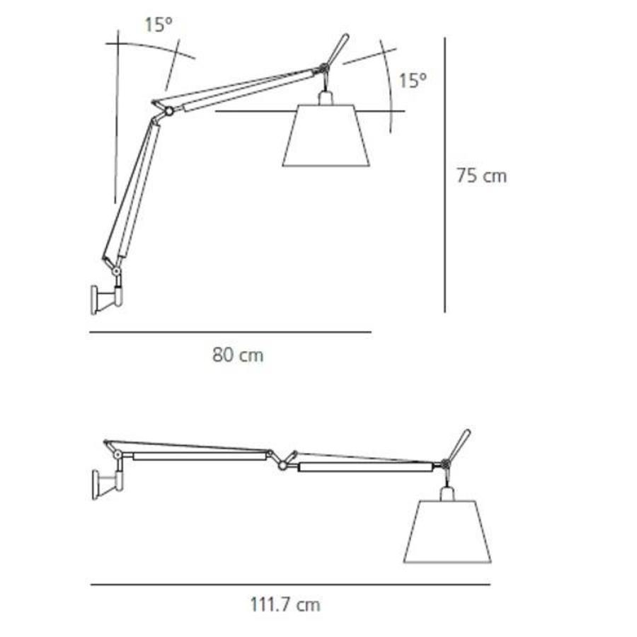 Dimbare wandlamp Tolomeo Mega Parete met geïntegreerde LED - Aluminium