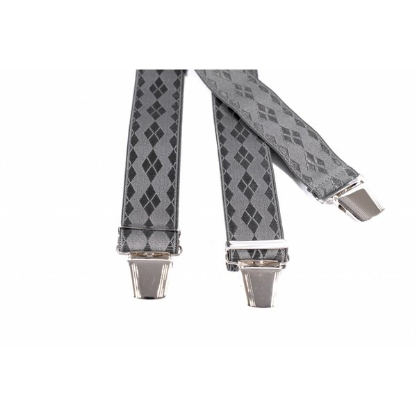 Donker grijze bretels met ruit dessin