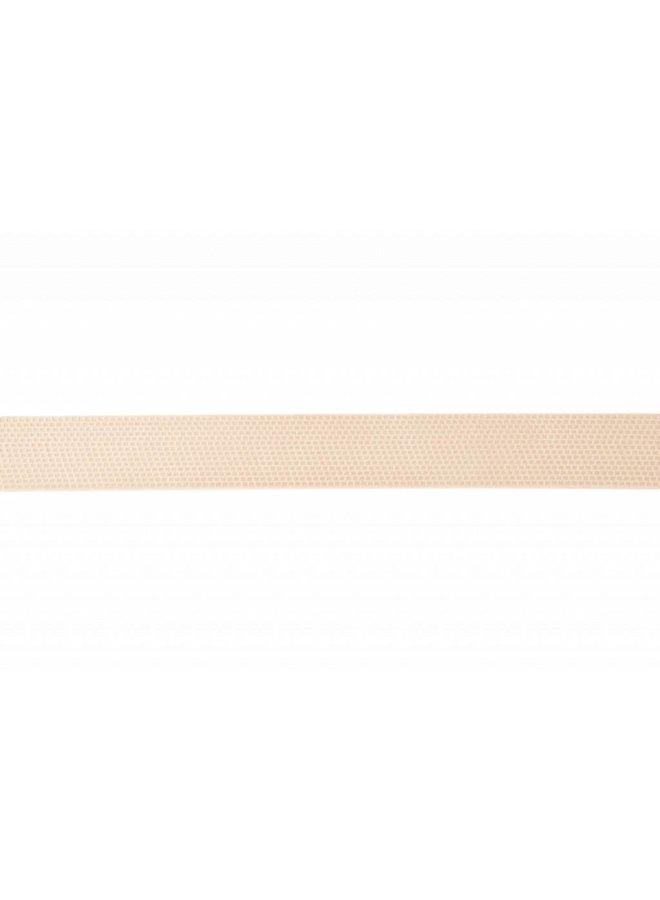 Elegante cremé herenriem met een geblokte structuur