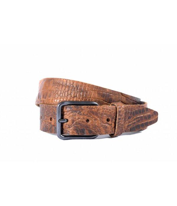 Alberto riemen Stoere bruine riem met fraaie croco structuur