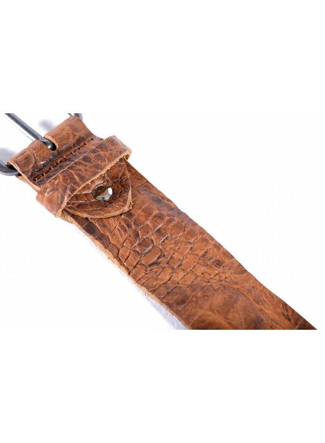 Stoere bruine riem met fraaie croco structuur
