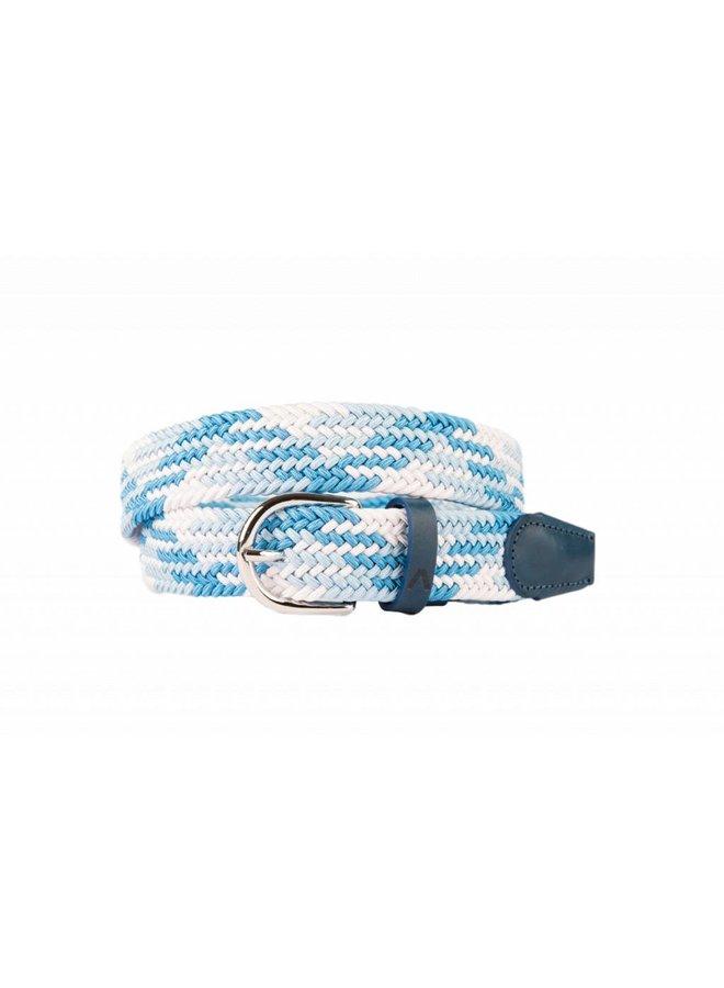 Mooie multi blauwe webbing riem
