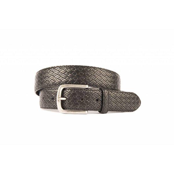 TOPPER! Mooie zwarte vlechtlook riem met old-look zilveren gesp