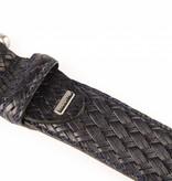 Alberto riemen Mooie donkerblauwe vlechtlook riem met old-look zilveren gesp