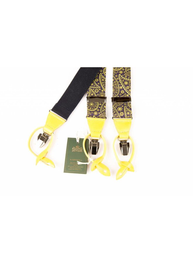 Luxe blauwe bretels met fraai geel dessin