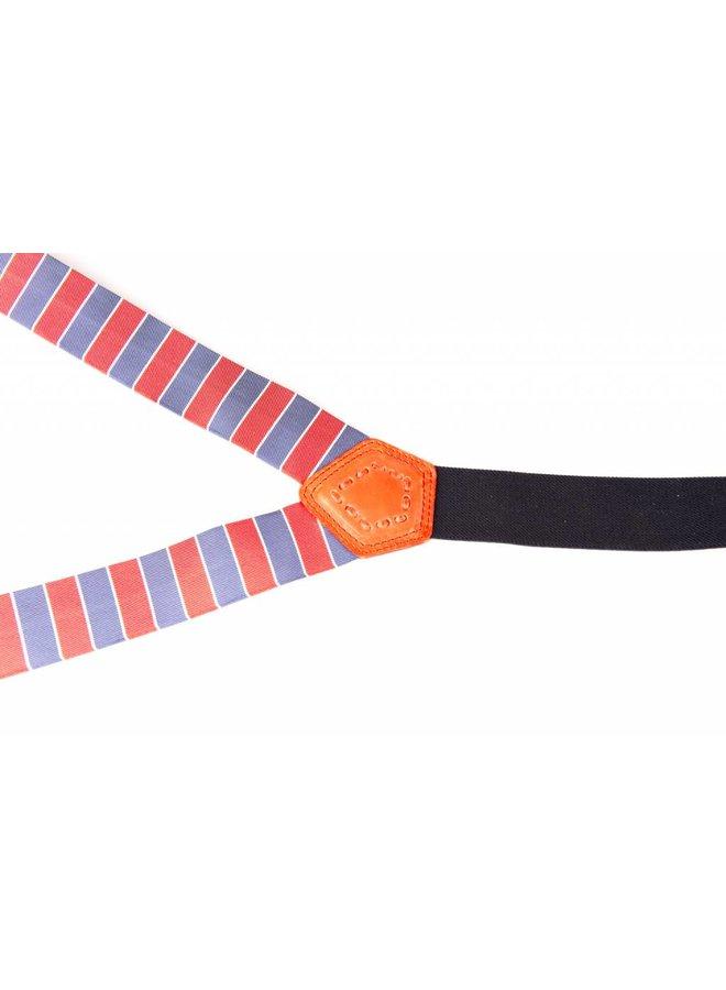 Luxe gestreepte bretels, exclusief met leer afgewerkt