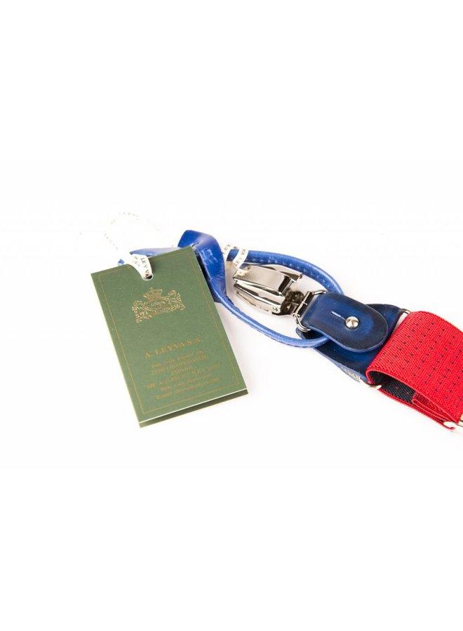 Luxe gespikkelde bretels, exclusief met leer afgewerkt