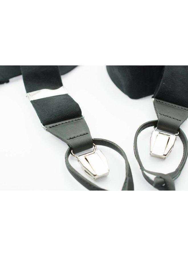 Luxe brede zwarte velours Bretels - patten & clips