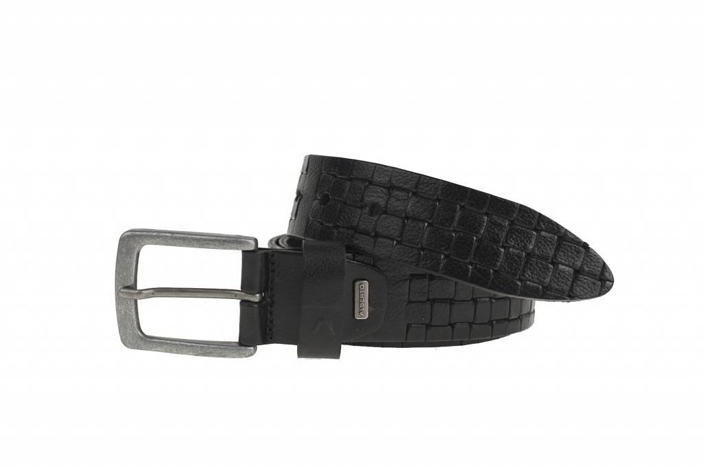Stoere zwarte casual riem met gevlochten embossing