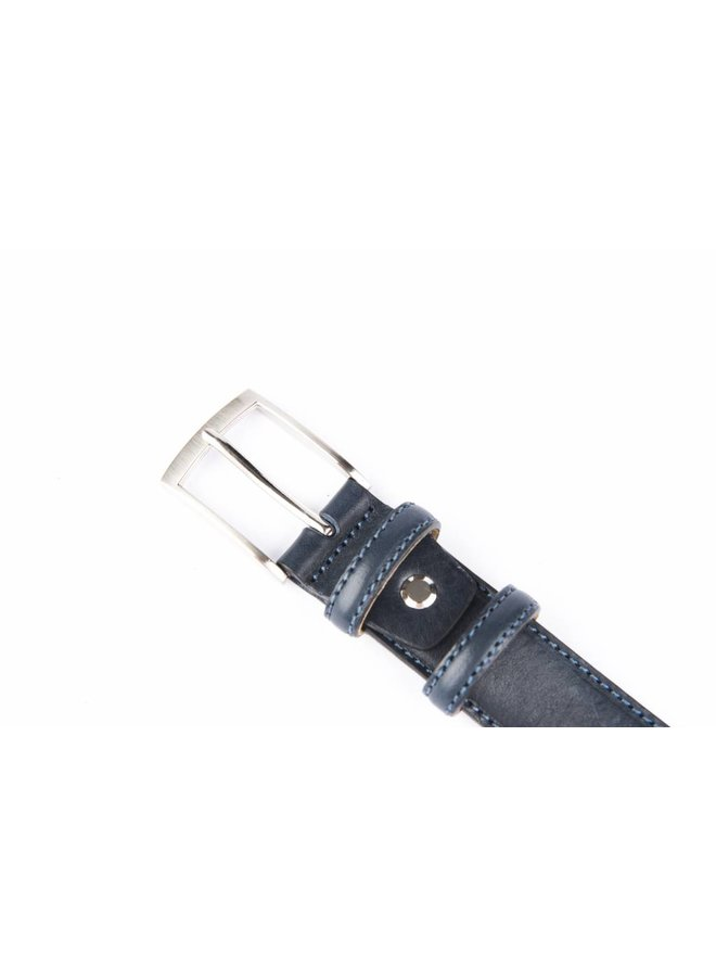 Smalle blauw kleurige pantalonriem