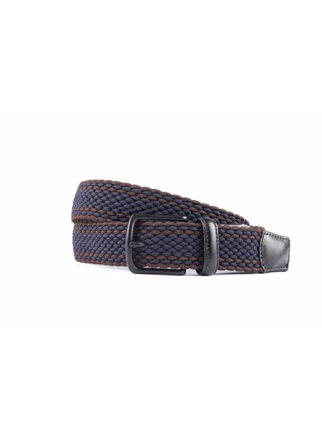 Mooie elastische blauw-bruin kleurige riem