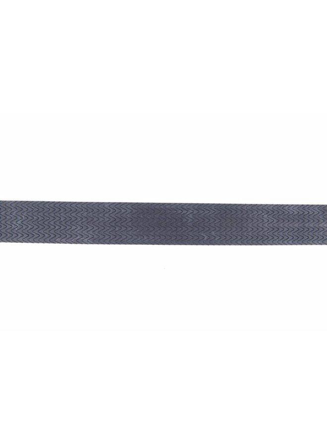 Stoere blauwe riem met mooi dessin