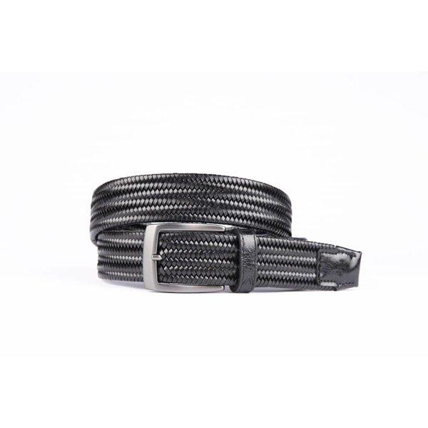 Zwarte elastische riem van hoogwaardig leer