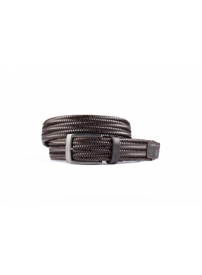 Bruine elastische riem van hoogwaardig leer