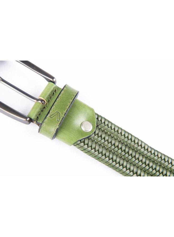 Groene elastische riem van hoogwaardig leder