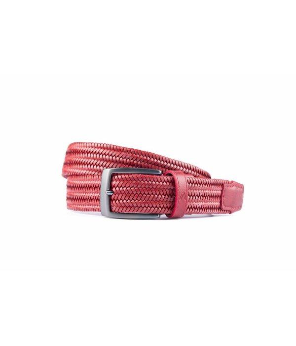 Alberto riemen Rode elastische riem van hoogwaardig leer
