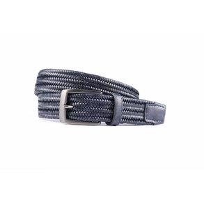 Navy elastische riem van hoogwaardig leer