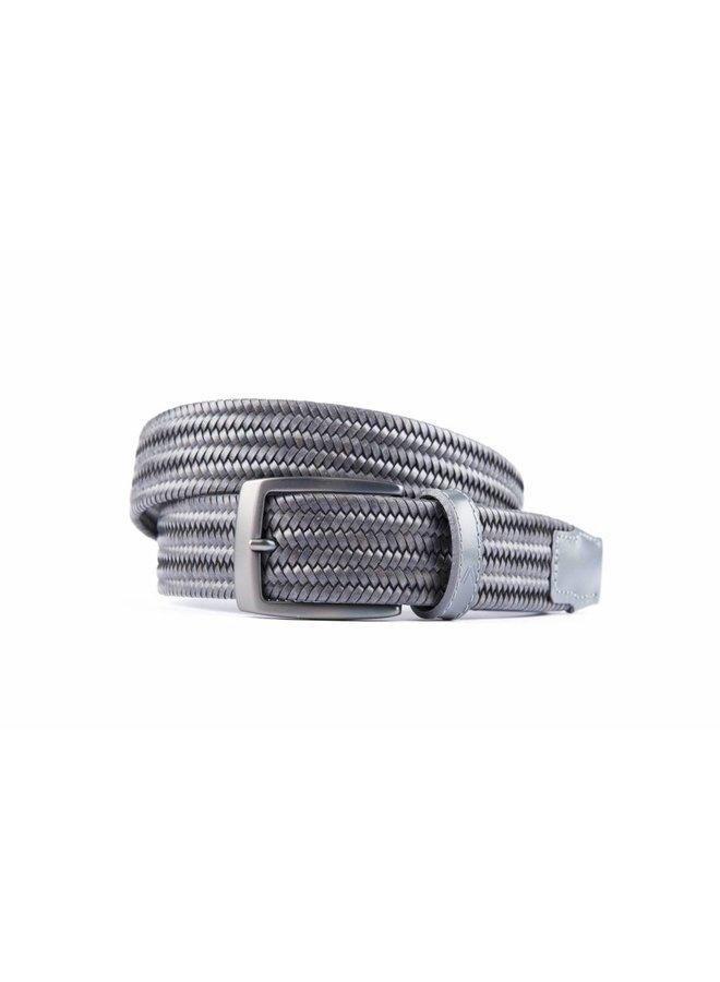 Grijze elastische riem van hoogwaardig leder