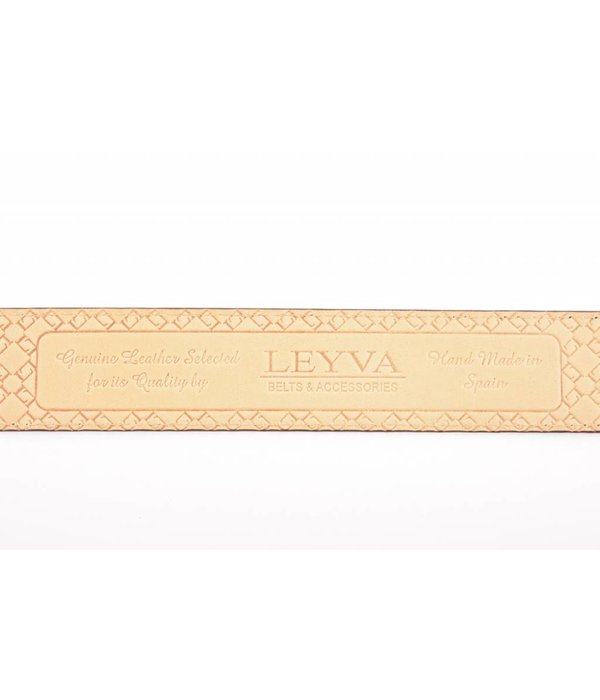 Leyva Bruine Leren Herenriem met Croco print
