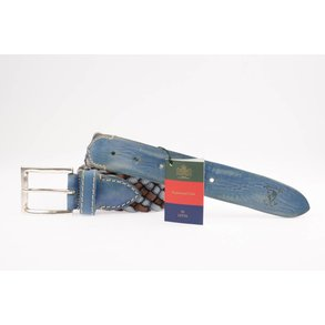 Gevlochten blauw/bruine herenriem - Regimental Club