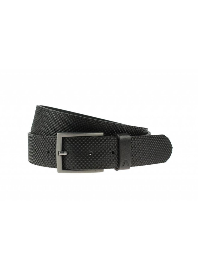 Stoere zwarte volnerf jeansriem