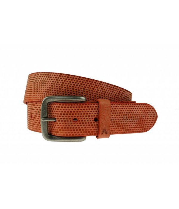 Alberto riemen Luxe riem met vakjes in oranje kleur