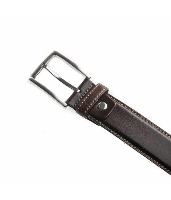 MOOIERIEMEN.NL Stijlvolle bruine pantalonriem met contrasterend stiksel
